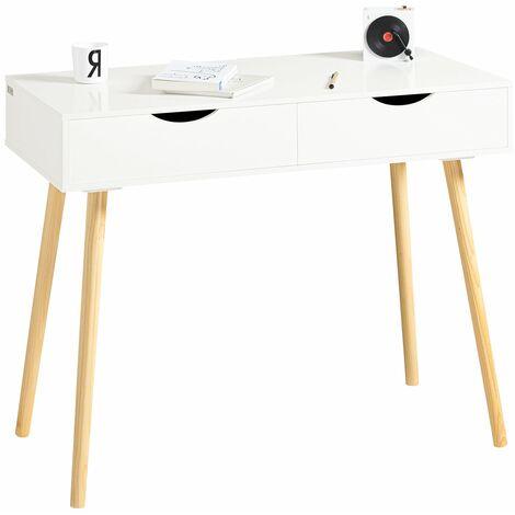 SoBuy® Mesa de escritorio, Mesa de ordenador con 2 cajones,color blanco, L 90 x H 77 cm,FWT40-WN,ES