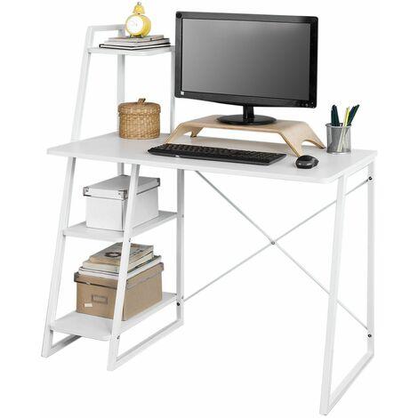 SoBuy® Mesa de escritorio, Mesa de ordenador con tres estantes, color blanco, FWT29-W