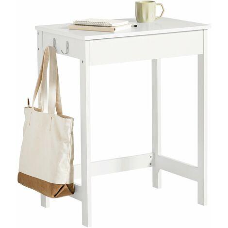 SoBuy® Mesa de escritorio, Mesa de ordenador con un cajón y 2 percheros , color blanco, H 76 cm, FWT43-W