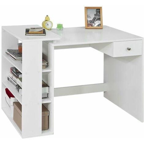 SoBuy® Mesa de escritorio, Mesa de ordenador con un cajón y 4 estantes ,color blanco, L 101 x H 76 cm,FWT35-W,ES