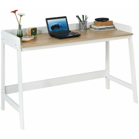 SoBuy® Mesa de escritorio, Mesa de ordenador con un estante,color blanco, L 125 x H 80 cm,FWT41-WN,ES