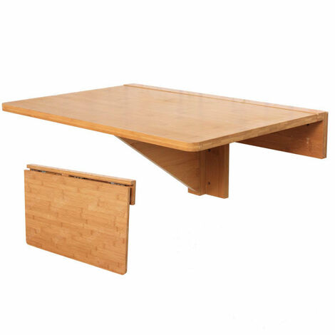 SoBuy® Mesa plegable de pared, mesa plegable, mesa, mesa de cocina, mueble  infantil de bambú, FWT031-N, 60x40cm Color: bambú natural [Not Machine ...