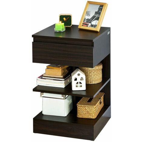 SoBuy® Mesita de noche con 1 cajón y 2 estantes, Consola, Mesa auxiliar para salón comedor,FBT49-BR,ES