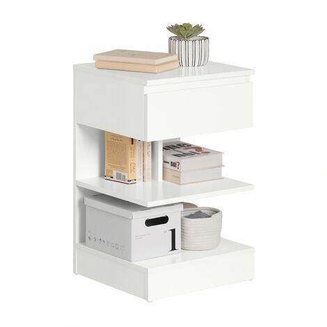 SoBuy® Mesita de noche con 1 cajón y 2 estantes, Consola, Mesa auxiliar para salón comedor,FBT49-W,ES