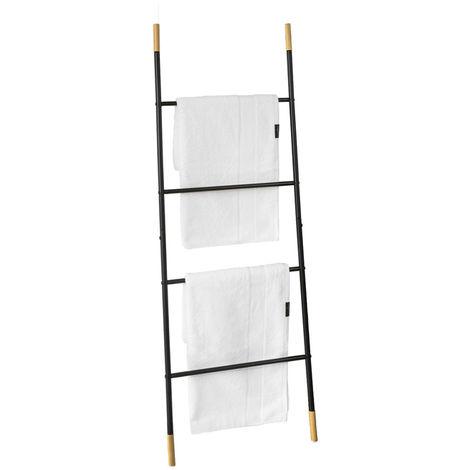 SoBuy Metal Bathroom Ladder Shelf Towel Holder Stand 4 Rods Black FRG264-SCH