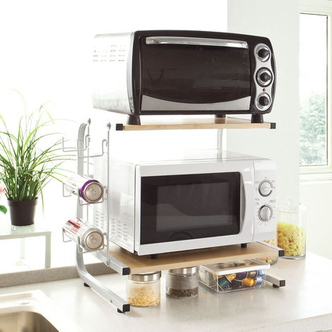 SoBuy Microwave Shelf, Kitchen Storage Rack Shelf, Mini Shelf, FRG092-N