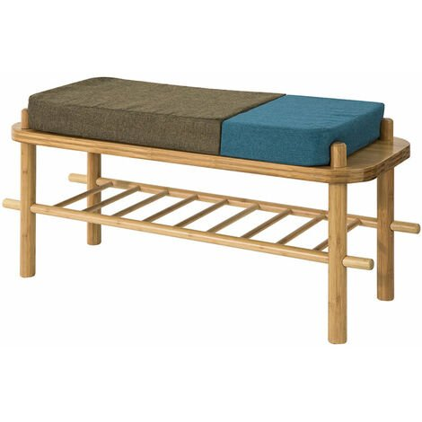 SoBuy Modern Design Bamboo Shoe Rack Shoe Bench with Seat Cushion, Hallway Shoe Storage Organizer ,FSR73-N