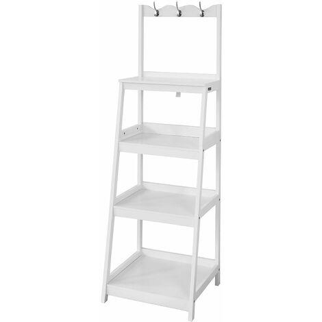 SoBuy® Moderna estantería escalonada, librería escalera, estantería baño con 4 estantes y 3 percheros, FRG279-W,ES