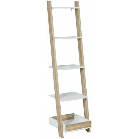 SoBuy® Moderna estantería escalonada, librería escalera, estantería de pared, estante de 4 niveles y 1 cajón, FRG229-WN,ES