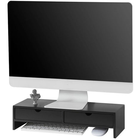 SoBuy Monitor Stand Computer Screen Monitor Stand Monitor Riser Desk Organizer 2 Drawers Black,BBF02-SCH