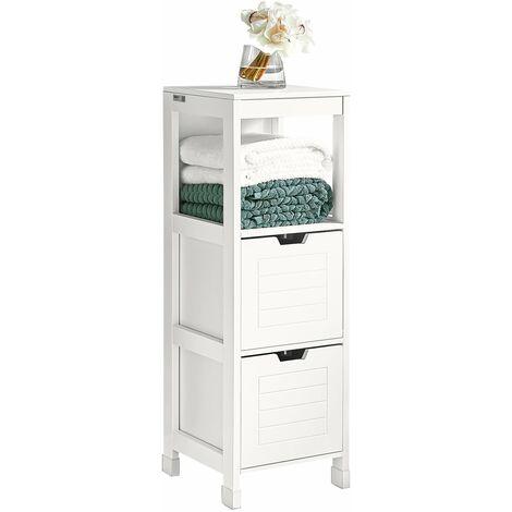 SoBuy® Mueble columna de baño, Armario para baño - 1 estante y 2 cajones, FRG127-W, ES