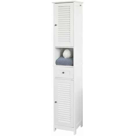 SoBuy® Mueble columna de baño, Armario para baño alto,estanterías de baño-2 puertas y 1 cajón, FRG236-W, ES