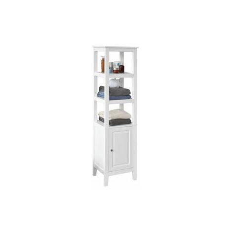 SoBuy® Mueble columna de baño, Armario para baño,estanterías de baño- 3 estantes y 1 puerta, FRG205-W, ES