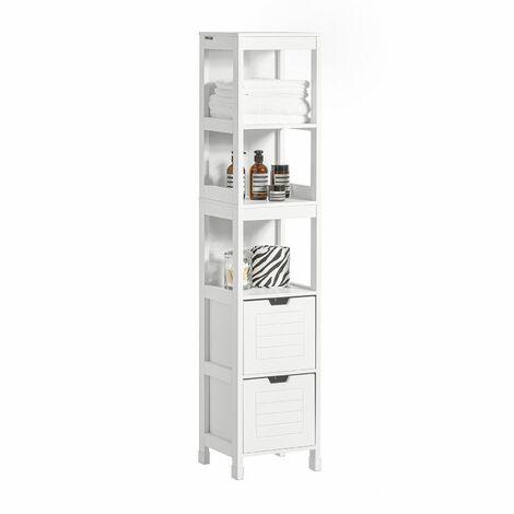 SoBuy® Mueble columna de baño, Armario para bañotanterías de baño, FRG126-W, ES