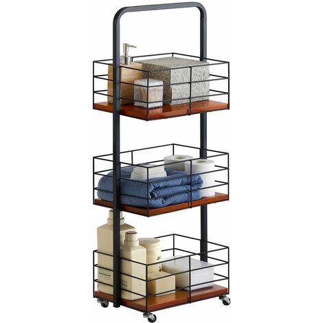 SoBuy NSR06-N Estantería de Baño con Ruedas Estrecho Organizador de baño con Tres cestas para cosméticos, Toallas, etc ES