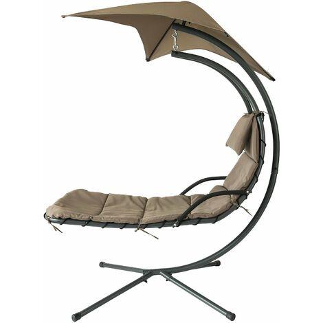 SoBuy OGS39-BR Tumbona Colgante con toldo sillón balancín jardín,ES