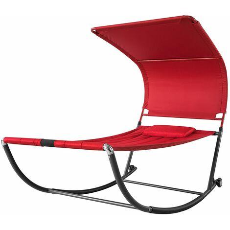SoBuy OGS44-R Tumbona de jardín con Parasol y 1 Almohadas para Patio Trasero Playa ES