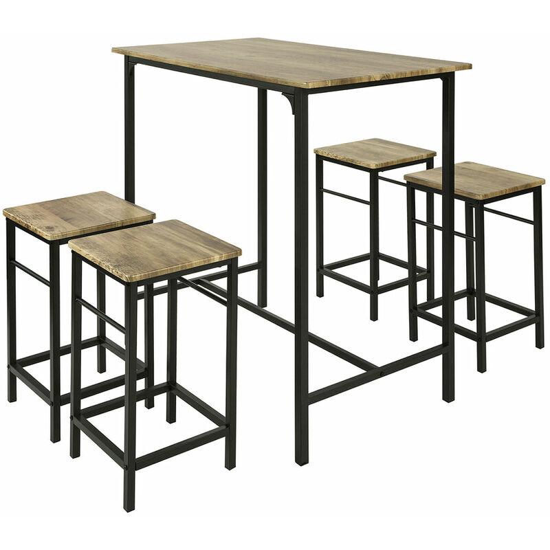 SoBuy OGT11-XL Set Mesa Alta 101cm y 4 Taburetes Desayuno Muebles Bar  Comedor ES