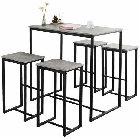 SoBuy OGT15-HG Set Mesa Alta de Bar y 4 Taburetes Muebles Bar Comedor ES