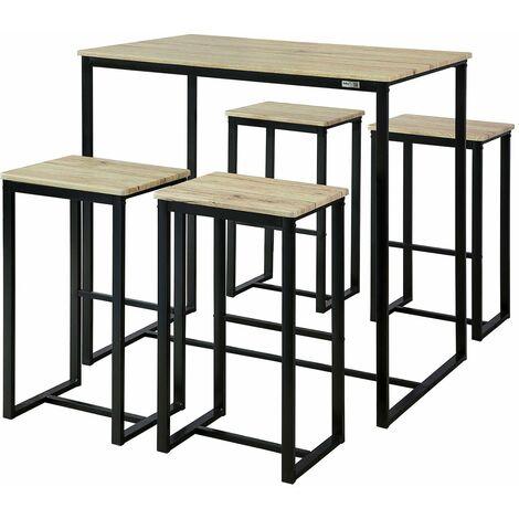 SoBuy OGT15-N,ES Juego de 5 piezas comedor mesa,Set de 4 Taburetes y 1 mesa