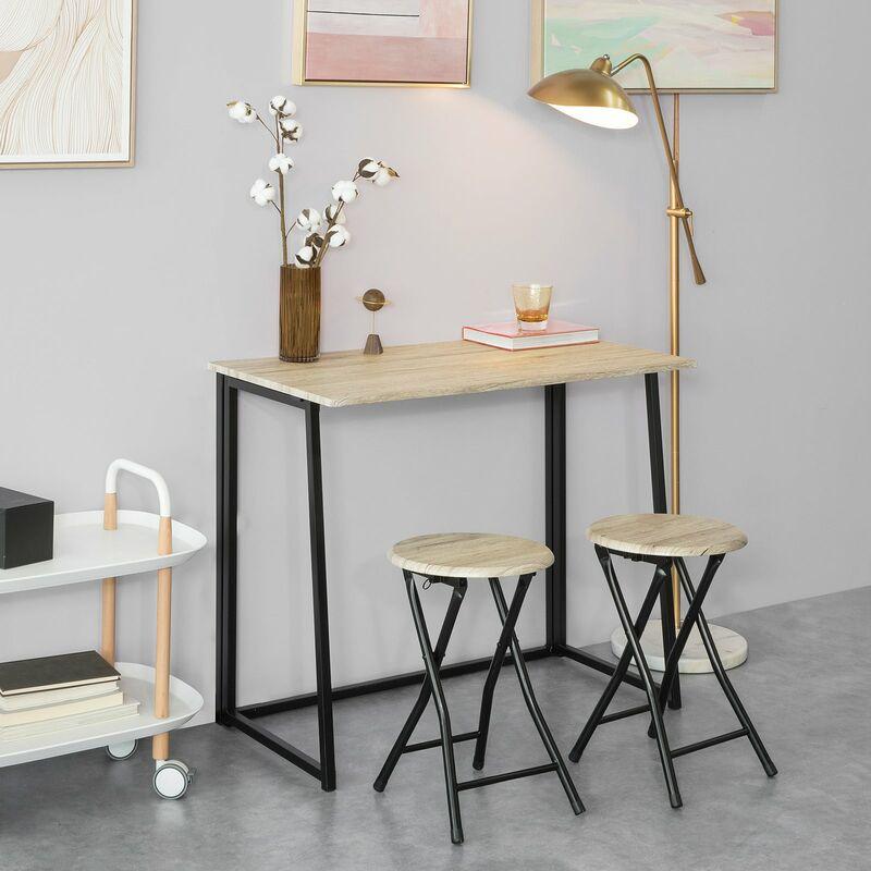 SoBuy OGT18-N,ES Set Mesa Alta de Bar y 2 Taburetes,Mueble Plegable para  Cocina