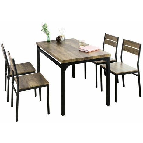 SoBuy OGT28-N+FST72x4 Conjunto de Mesa y 4 Sillas de Comedor Sala Cocina Restaurante ES