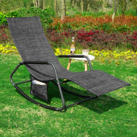 SoBuy Outdoor Garden Rocking Chair Relaxing Chair Recliner Sun Lounger with Side Bag,OGS47-MS