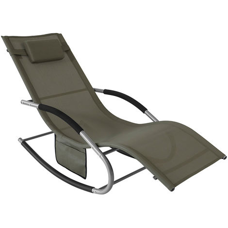 SoBuy Outdoor Garden Rocking Chair Relaxing Chair Sun Lounger with Side Bag, Grey,OGS28-HG