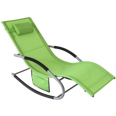 SoBuy Outdoor Garden Rocking Chair Relaxing Chair Sun Lounger with Side Bag, OGS28-GR