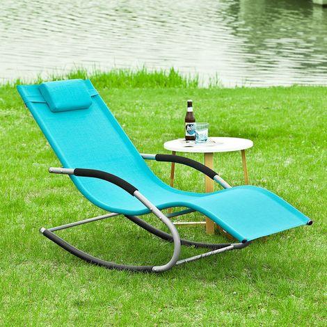 SoBuy Rocking Garden Sunlounger Chair with Footrest,OGS28-HB,Blue