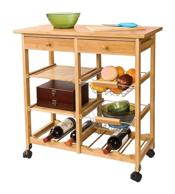 Sobuy Rolling Kitchen Trolley Cart With Storage Shelves Drawers Fkw06 N