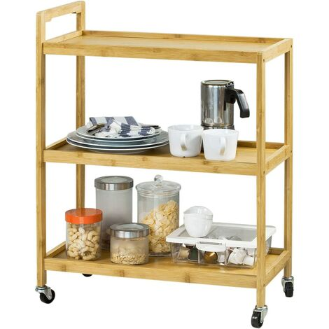 SoBuy Rolling Kitchen Trolley, Living Room Serving Tea Cart,FKW34-B-N