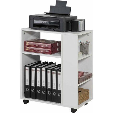 SoBuy Rolltisch,Druckerständer, Beistelltisch,Rollwagen;weiß,FBT68-W