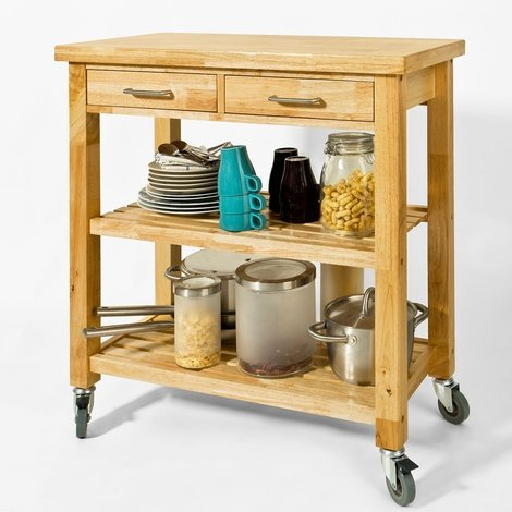 SoBuy Rubber Wood Kitchen Storage Trolley Cart with Drawers & Shelves,FKW24-N