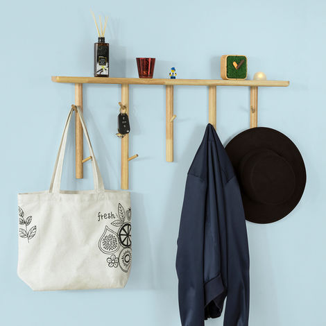 SoBuy Rubber Wood Wall Mounted Coat Rack, Wall Hook Wall Shelf Wall Towel Rack Shelf,FHK12-N