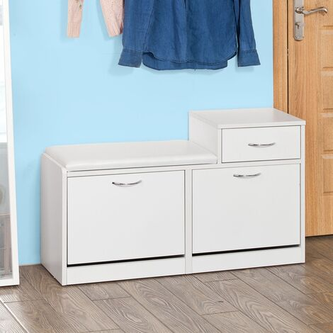 SoBuy Scarpiera da ingresso, panchina con cuscino e cassetto,bianco, FSR17-W,IT