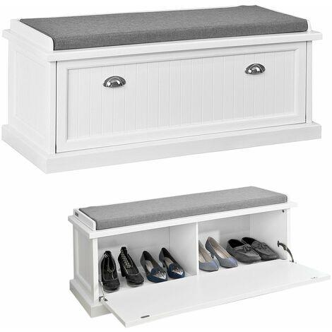 SoBuy Scarpiera da ingresso, panchina con cuscino e sportello,L105cm, FSR41-W,IT