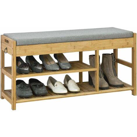SoBuy Schuhbank mit Sitzkissen und Schubladen, Sitzbank,Bambus, FSR47-N