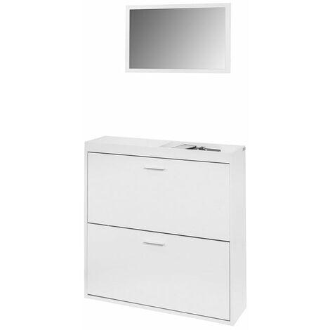 SoBuy Schuhschrank schmal mit spiegel Schuhkipper weiß wandspiegel mit 2 Klappen BTH:80*85*24cm FSR61-W