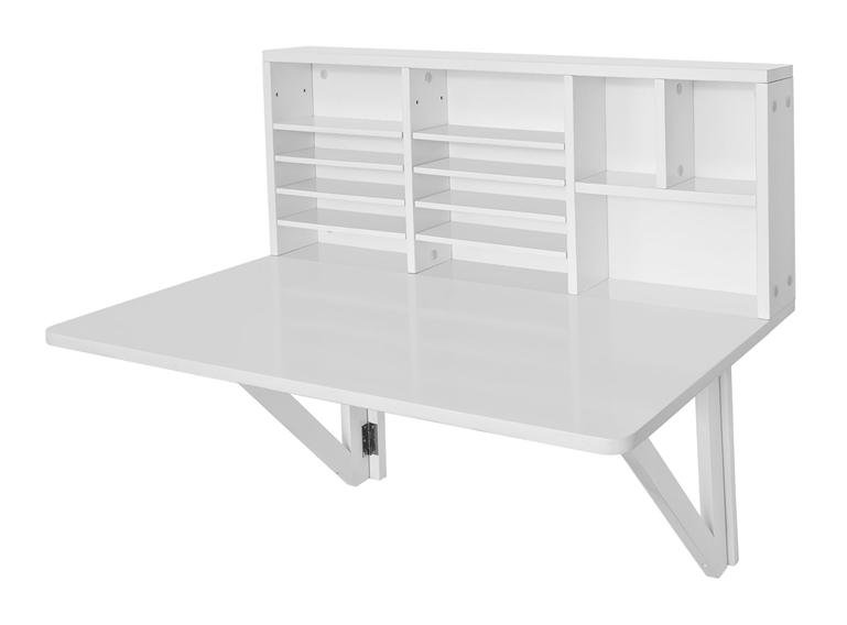 SoBuy Scrivania pieghevole tavolo da muro con libreria, bianco FWT07-W