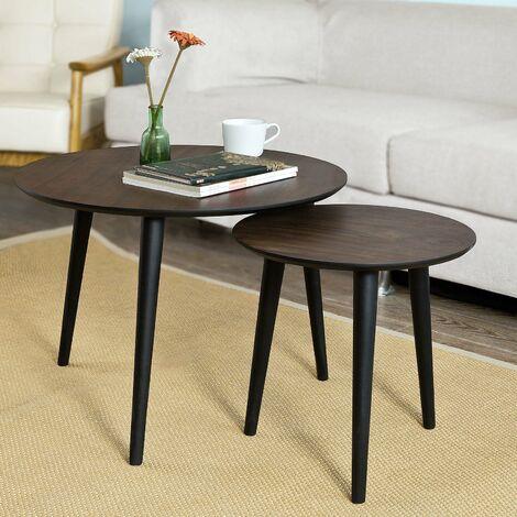 SoBuy Set di 2 tavolini da salotto, Tavolino da caffè,rotondo, in ...