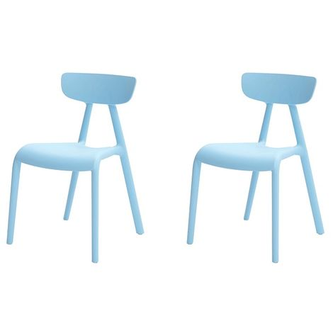 SoBuy Set of 2 Chairs Kids Children Chair Plastic Chair Blue KMB15-Bx2