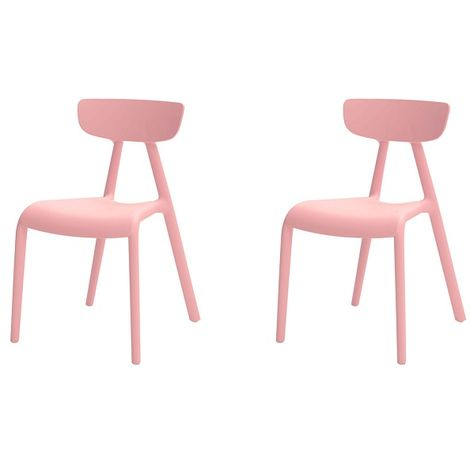 SoBuy Set of 2 Chairs Kids Children Chair Plastic Chair Pink KMB15-Px2