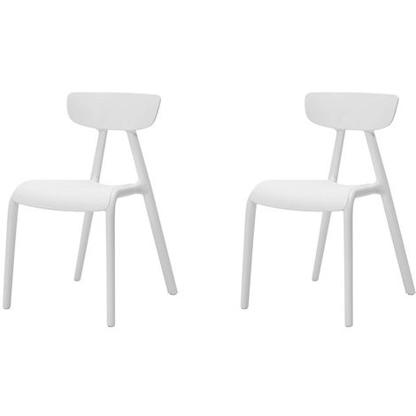SoBuy Set of 2 Chairs Kids Children Chair Plastic Chair, White KMB15-Wx2