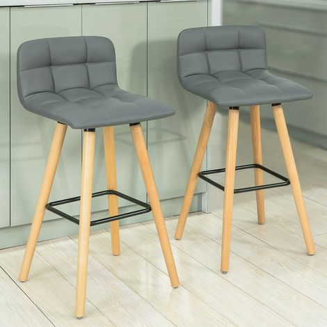 SoBuy Set of 2 Kitchen Breakfast Barstool with PU Leather FST50-HG FST50-HGx2