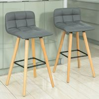 SoBuy Set of 2 Kitchen Breakfast Barstool with PU Leather FST50-HG FST50-HGx2