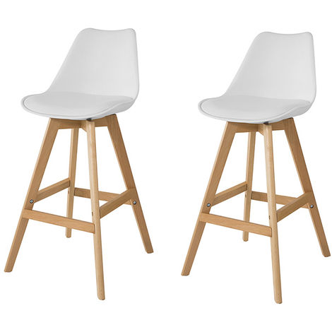 SoBuy Set of 2 Kitchen Breakfast Barstools, Bar Stools with PU Leather Padded Seat,FST69-Wx2