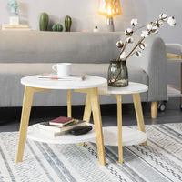 SoBuy Set of 2 Side Tables Coffee Tables Nesting Tables, FBT75-W