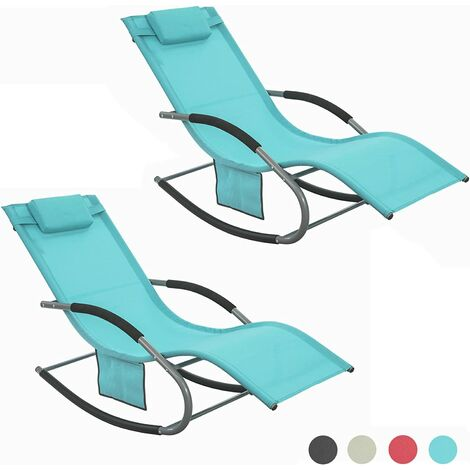 SoBuy Set of 2 Sun Loungers and Recliners with Side Bag,Blue, OGS28-BRx2