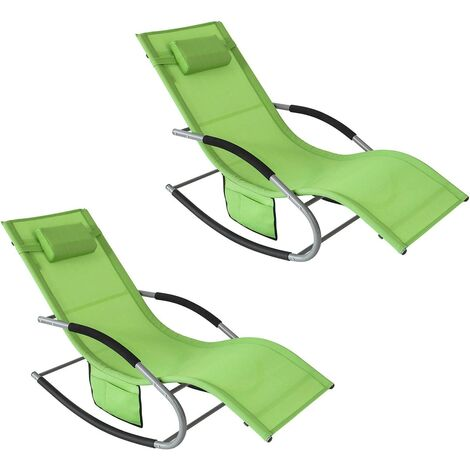 SoBuy Set of 2 Sun Loungers and Recliners with Side Bag,Green, OGS28-BRx2